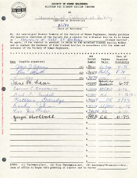 Petition for SWE section chartered at Berkeley on March 1, 1974