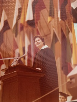 Photo: Keith Gockel  Constance Lütolf-Carroll gave the student graduation speech at Berkeley's Greek Theatre for the College of Engineering commencement in June 1977.