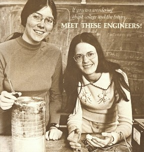 Women engineering students in the early 1970s at Berkeley, Patricia Delvac Daniels (left) and Gail Kendall (right) from MEET THESE ENGINEERS brochure by the College of Engineering