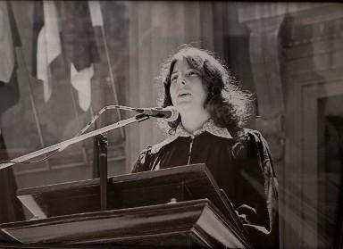 hoto: Peg Skorpinski  Charlotte Tyson, the second president of SWE at Berkeley, 1976 student speaker for the College of Engineering commencement held in Berkeley's Greek Theater